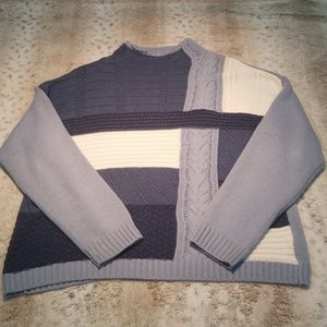 Chaps Blue Cable Knit and Crochet Style Sweater
